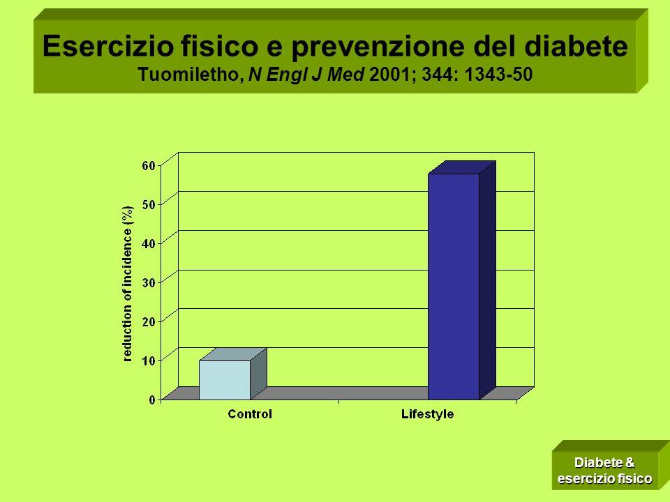 Esercizio fisico e prevenzione del diabete Tuomiletho, N Engl J Med 2001; 344: 1343-50