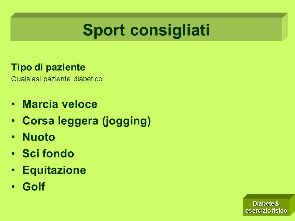 Sport consigliati Marcia veloce Corsa leggera (jogging) Nuoto