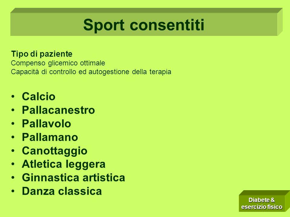Sport consentiti Calcio Pallacanestro Pallavolo Pallamano Canottaggio
