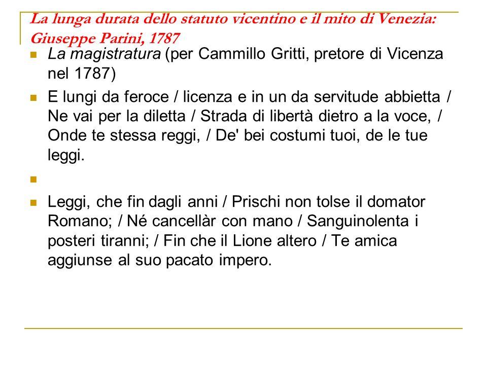 La lunga durata dello statuto vicentino e il mito di Venezia: Giuseppe Parini, 1787