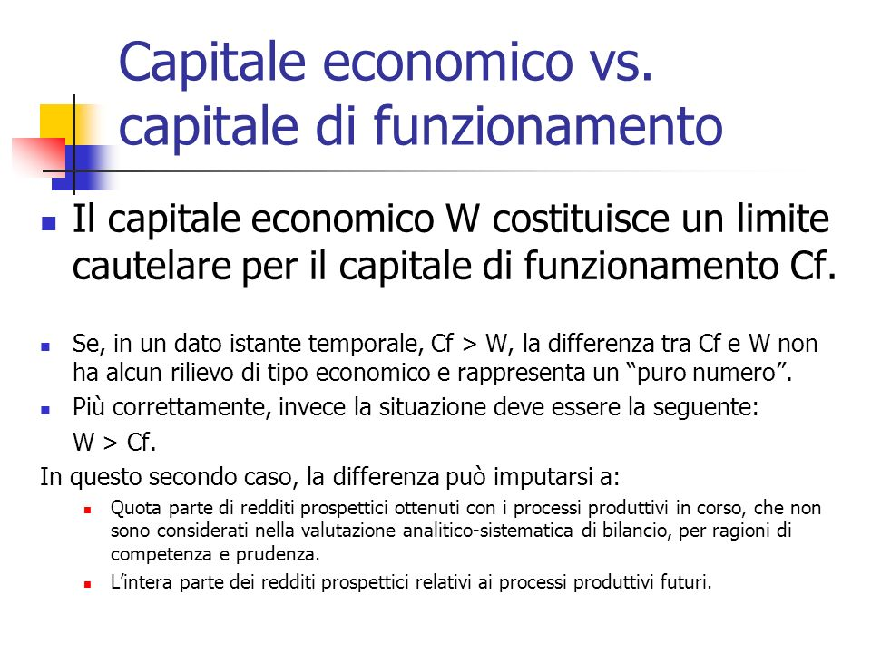 Capitale economico vs. capitale di funzionamento