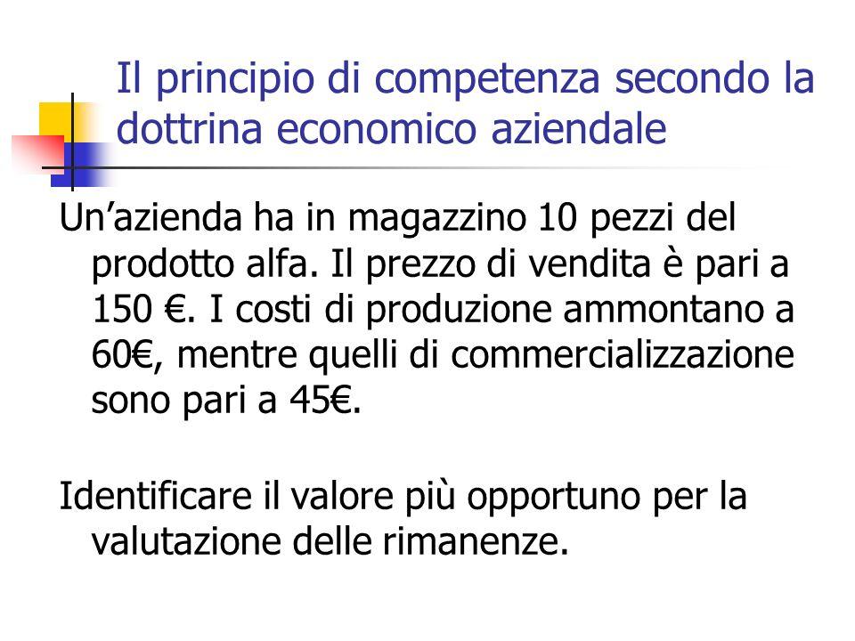Il principio di competenza secondo la dottrina economico aziendale