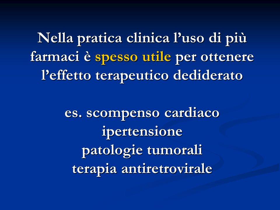Nella pratica clinica l'uso di più farmaci è spesso utile per ottenere l'effetto terapeutico dediderato es.