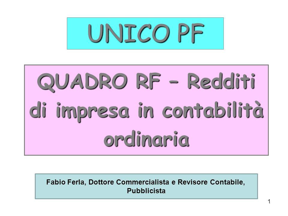 QUADRO RF – Redditi di impresa in contabilità ordinaria