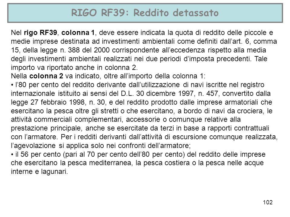 RIGO RF39: Reddito detassato