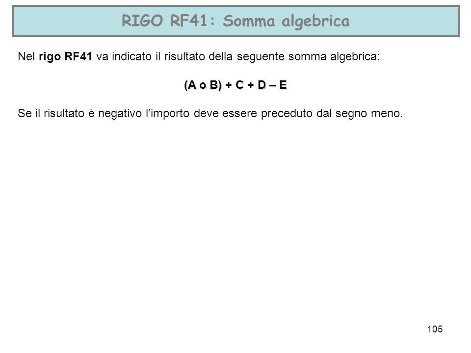 RIGO RF41: Somma algebrica