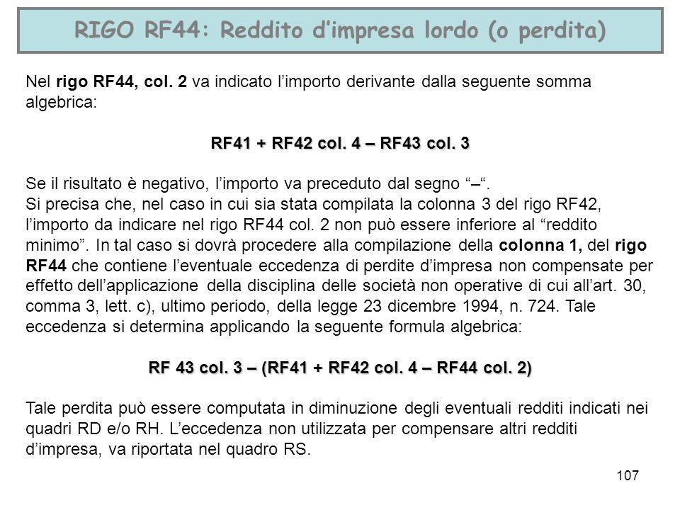 RIGO RF44: Reddito d'impresa lordo (o perdita)