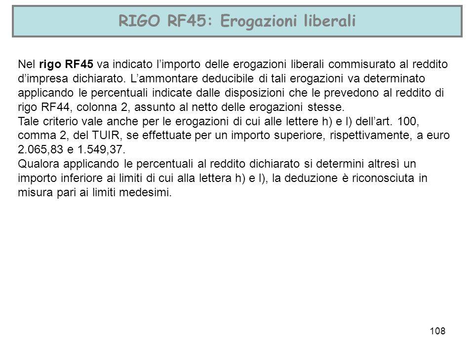 RIGO RF45: Erogazioni liberali