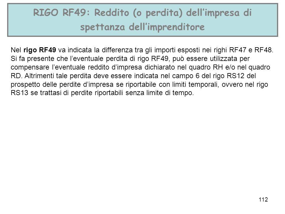 RIGO RF49: Reddito (o perdita) dell'impresa di spettanza dell'imprenditore