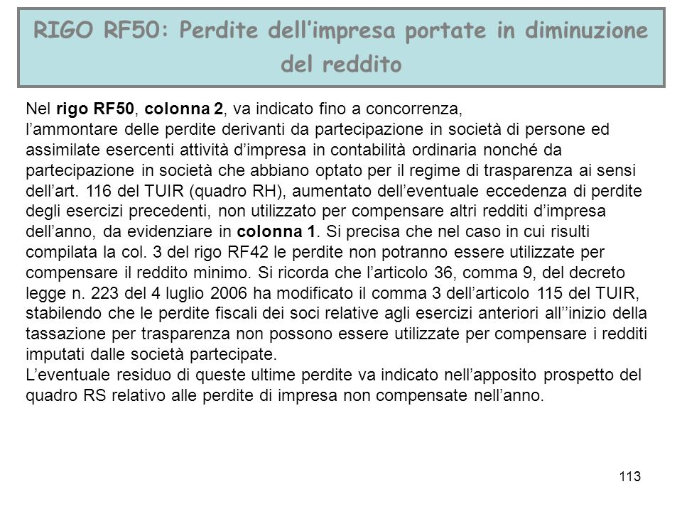 RIGO RF50: Perdite dell'impresa portate in diminuzione del reddito