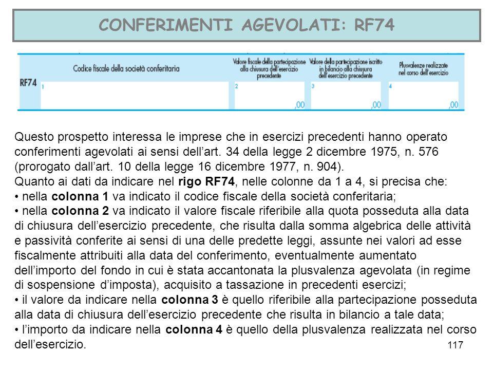 CONFERIMENTI AGEVOLATI: RF74