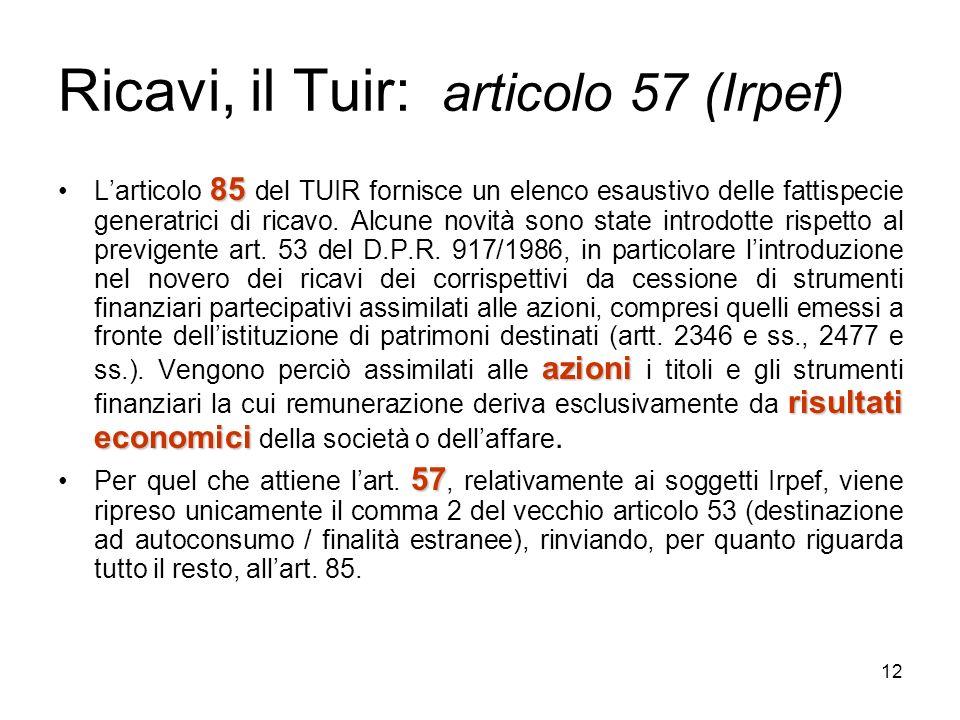 Ricavi, il Tuir: articolo 57 (Irpef)