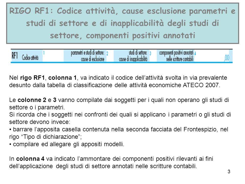 RIGO RF1: Codice attività, cause esclusione parametri e studi di settore e di inapplicabilità degli studi di settore, componenti positivi annotati