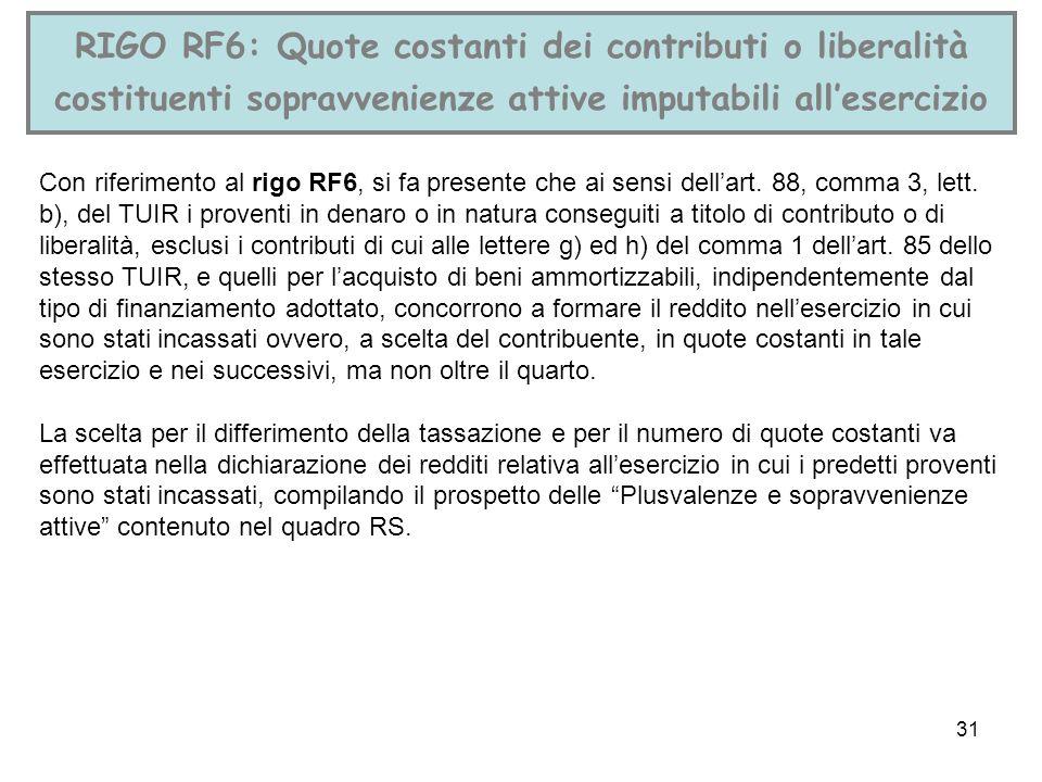 RIGO RF6: Quote costanti dei contributi o liberalità costituenti sopravvenienze attive imputabili all'esercizio