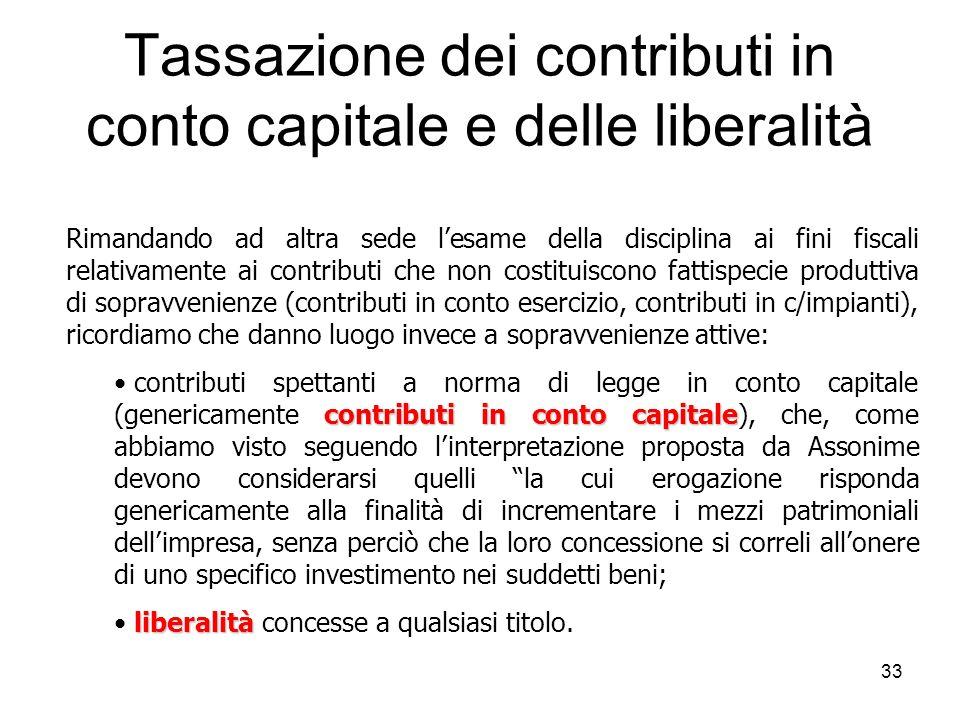 Tassazione dei contributi in conto capitale e delle liberalità