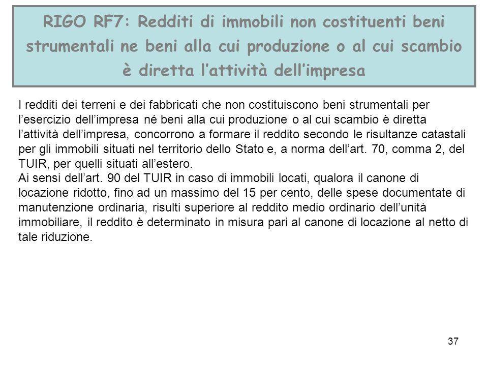 RIGO RF7: Redditi di immobili non costituenti beni strumentali ne beni alla cui produzione o al cui scambio è diretta l'attività dell'impresa