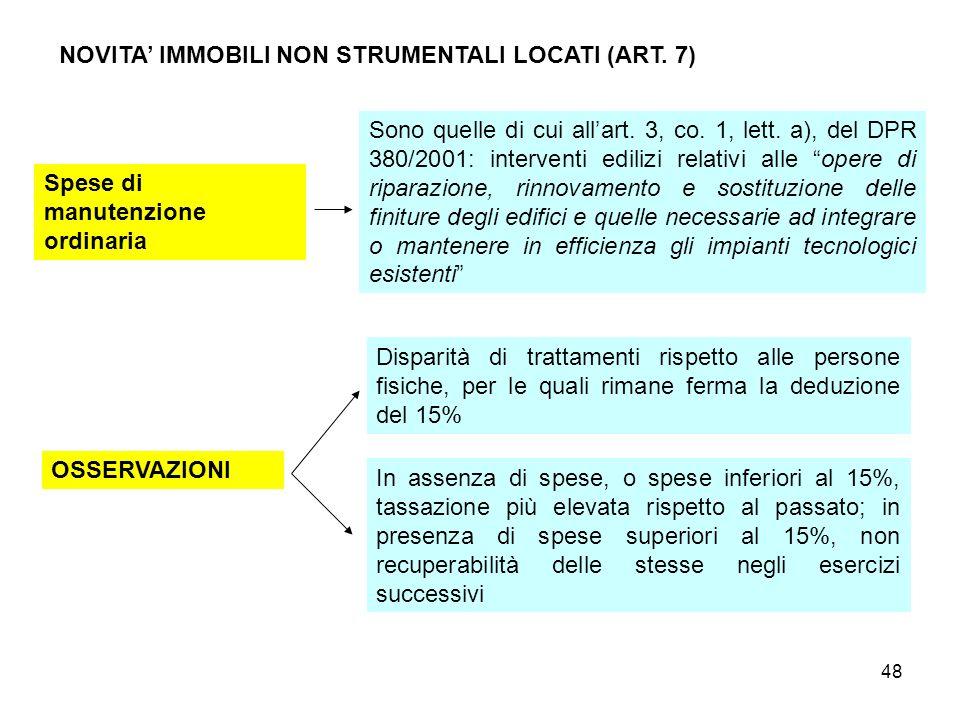 NOVITA' IMMOBILI NON STRUMENTALI LOCATI (ART. 7)