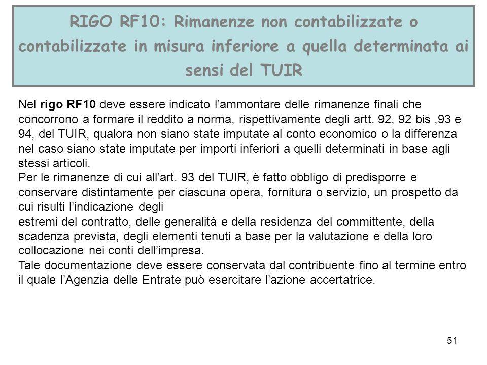 RIGO RF10: Rimanenze non contabilizzate o contabilizzate in misura inferiore a quella determinata ai sensi del TUIR