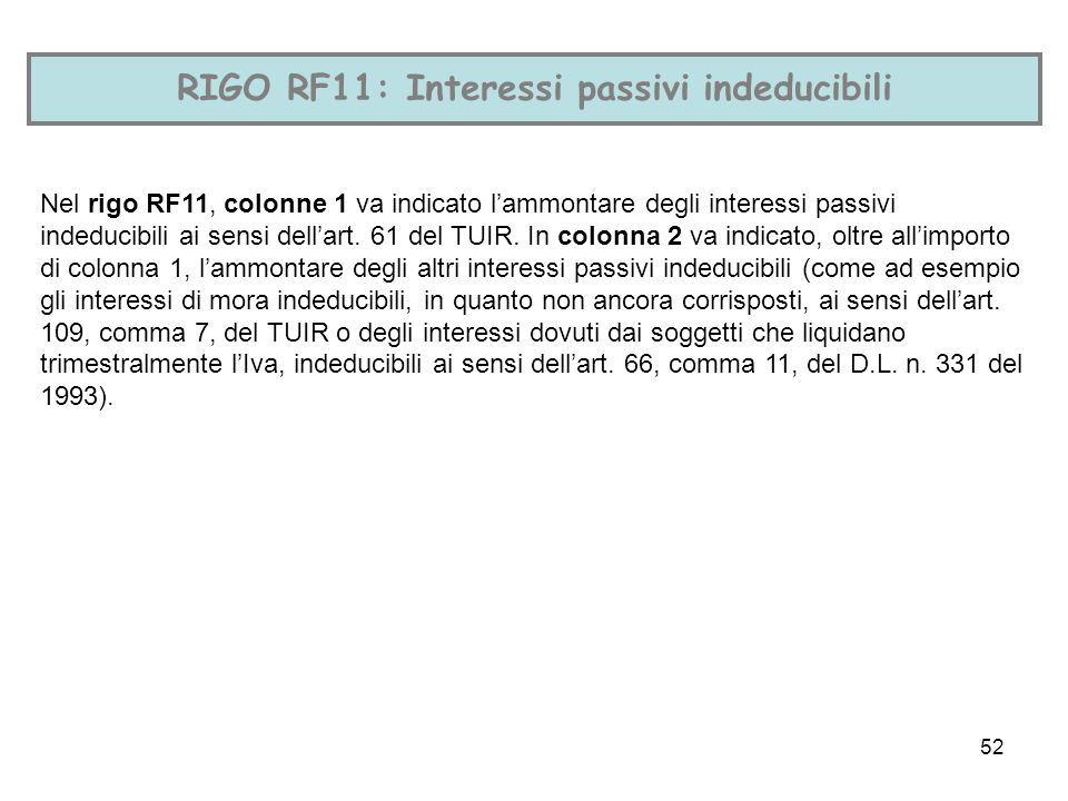 RIGO RF11: Interessi passivi indeducibili