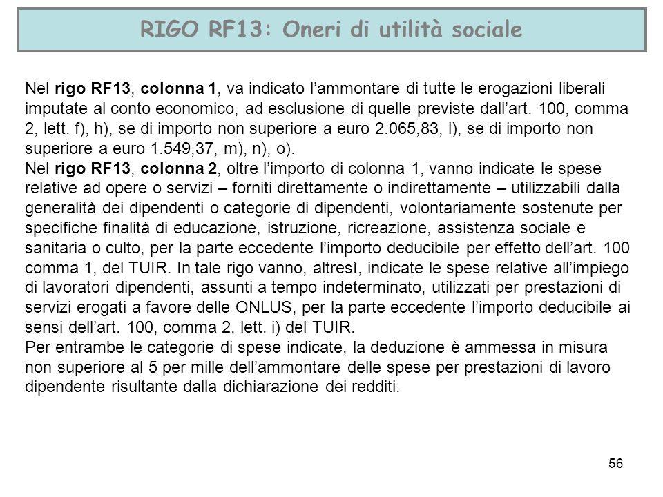RIGO RF13: Oneri di utilità sociale