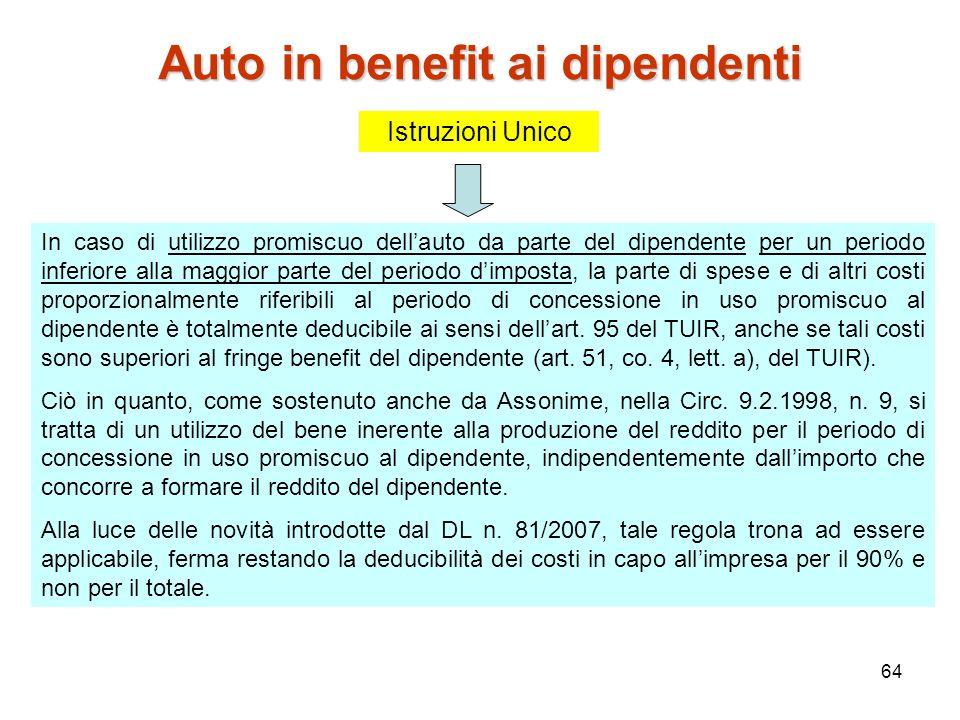 Auto in benefit ai dipendenti