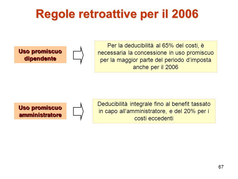 Regole retroattive per il 2006