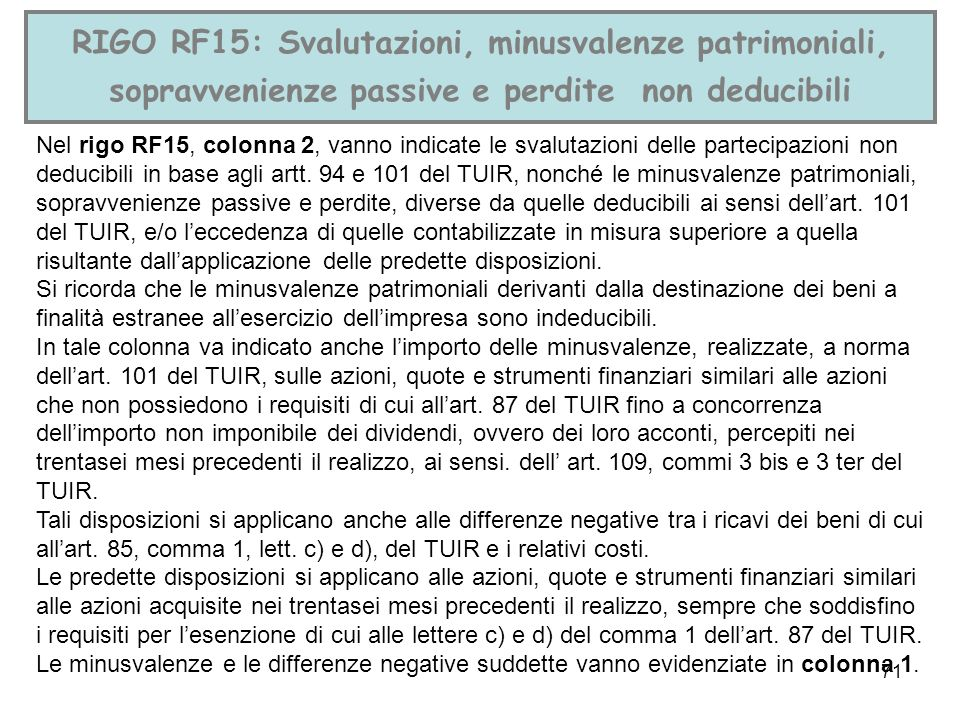 RIGO RF15: Svalutazioni, minusvalenze patrimoniali, sopravvenienze passive e perdite non deducibili