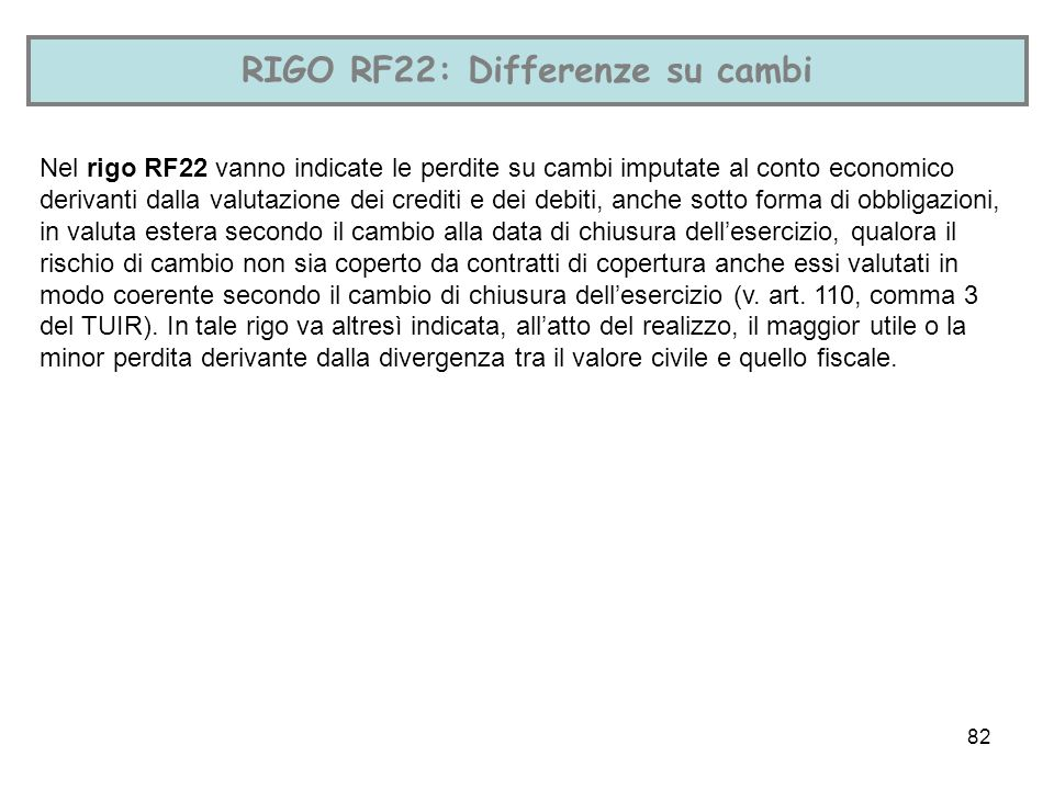 RIGO RF22: Differenze su cambi
