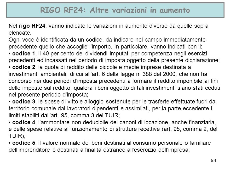 RIGO RF24: Altre variazioni in aumento