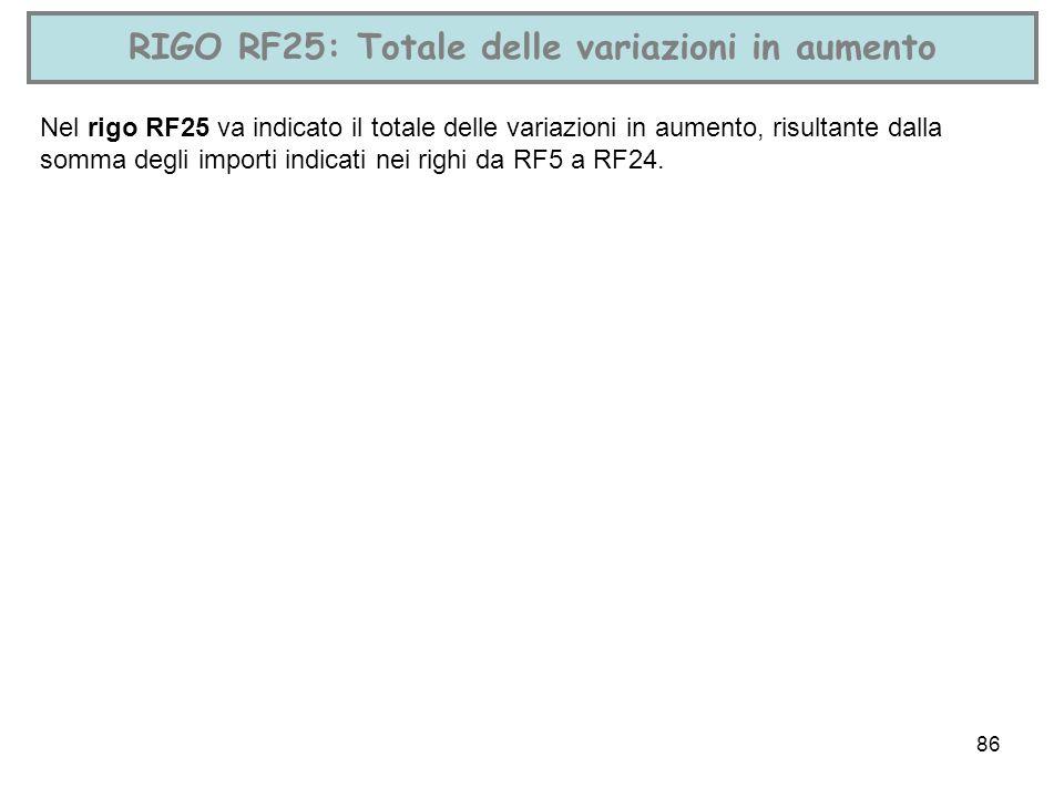 RIGO RF25: Totale delle variazioni in aumento