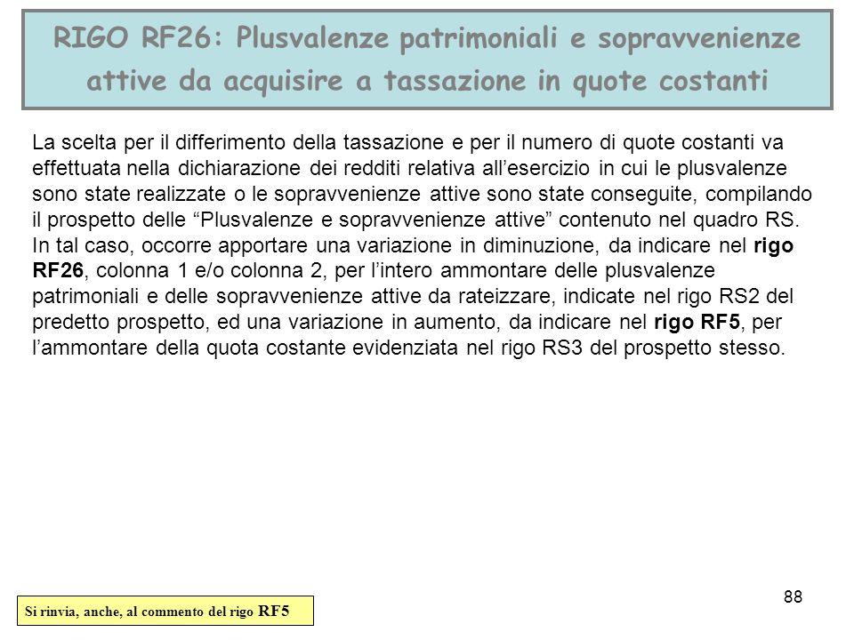 RIGO RF26: Plusvalenze patrimoniali e sopravvenienze attive da acquisire a tassazione in quote costanti