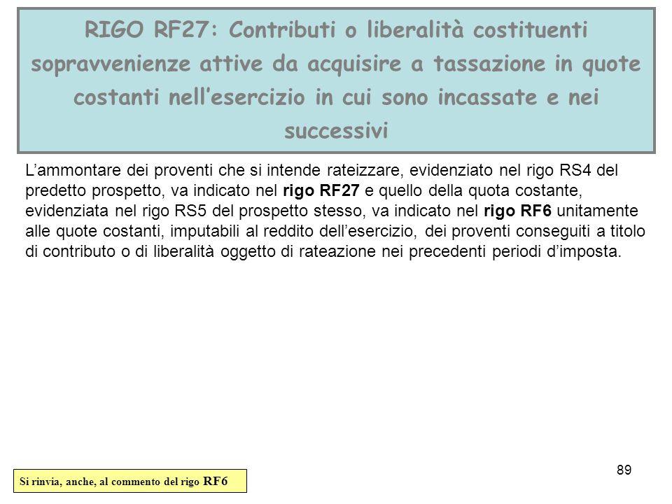 RIGO RF27: Contributi o liberalità costituenti sopravvenienze attive da acquisire a tassazione in quote costanti nell'esercizio in cui sono incassate e nei successivi