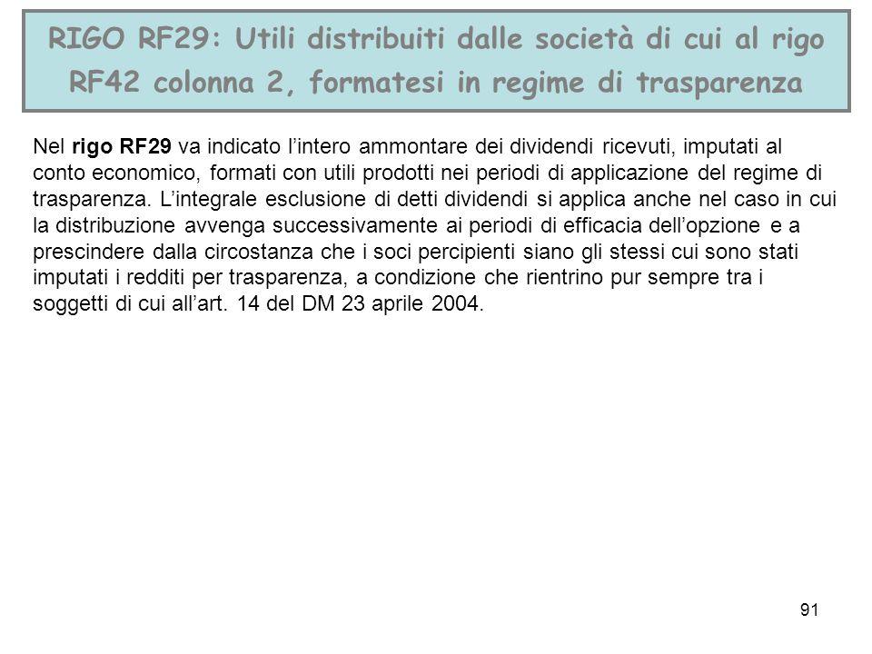 RIGO RF29: Utili distribuiti dalle società di cui al rigo RF42 colonna 2, formatesi in regime di trasparenza