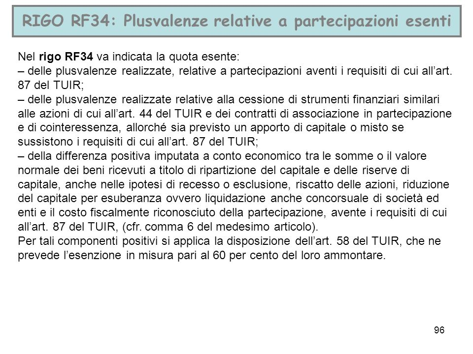 RIGO RF34: Plusvalenze relative a partecipazioni esenti