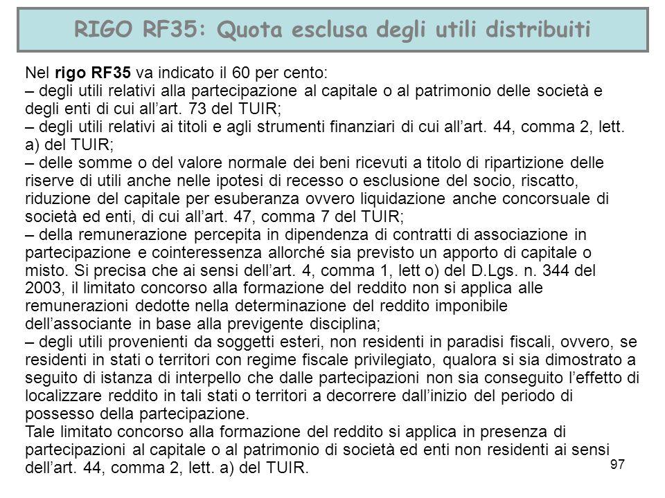 RIGO RF35: Quota esclusa degli utili distribuiti
