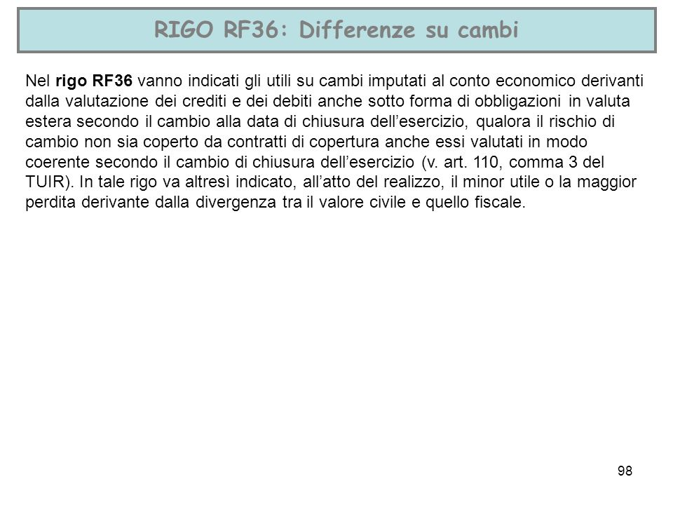 RIGO RF36: Differenze su cambi