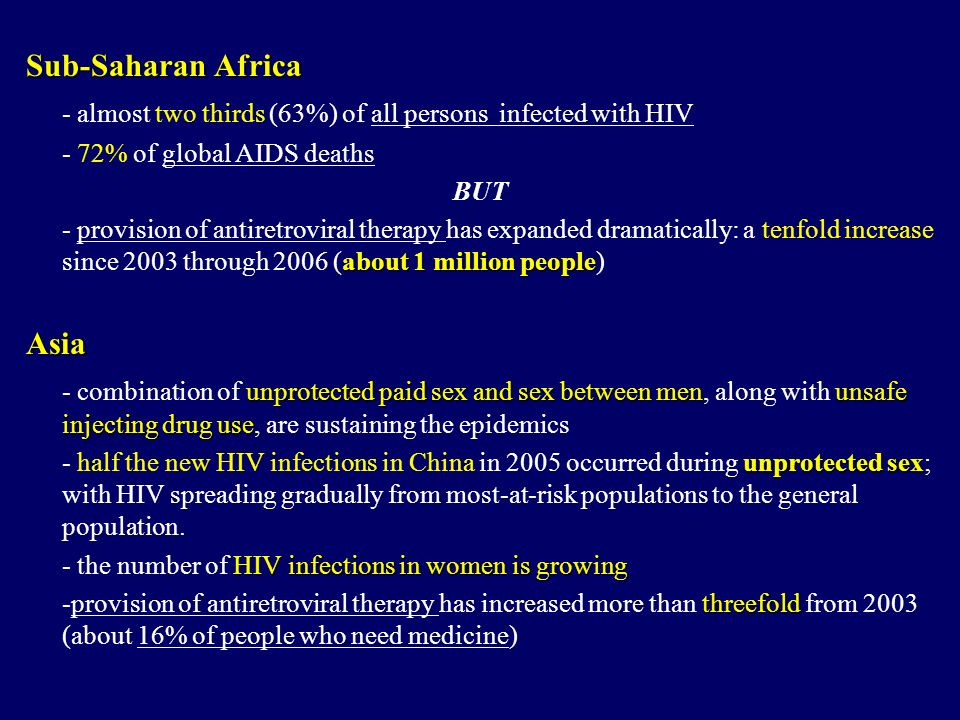 - almost two thirds (63%) of all persons infected with HIV