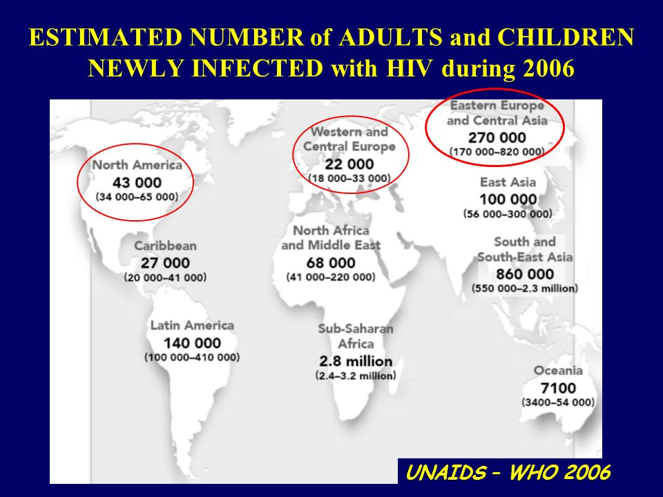 ESTIMATED NUMBER of ADULTS and CHILDREN NEWLY INFECTED with HIV during 2006
