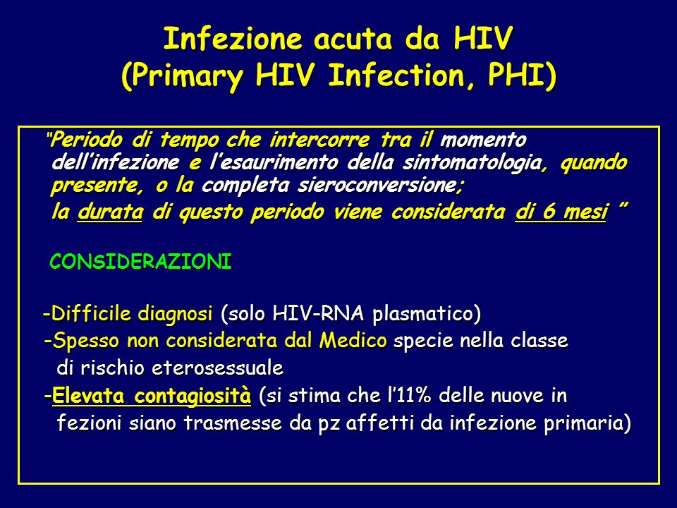 Infezione acuta da HIV (Primary HIV Infection, PHI)