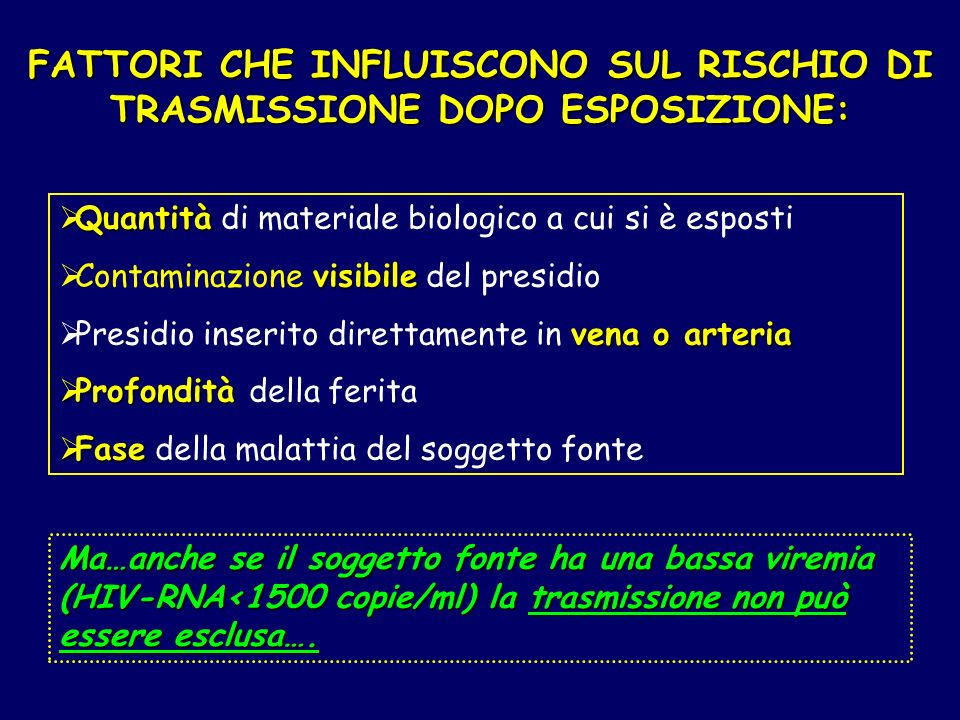 FATTORI CHE INFLUISCONO SUL RISCHIO DI TRASMISSIONE DOPO ESPOSIZIONE: