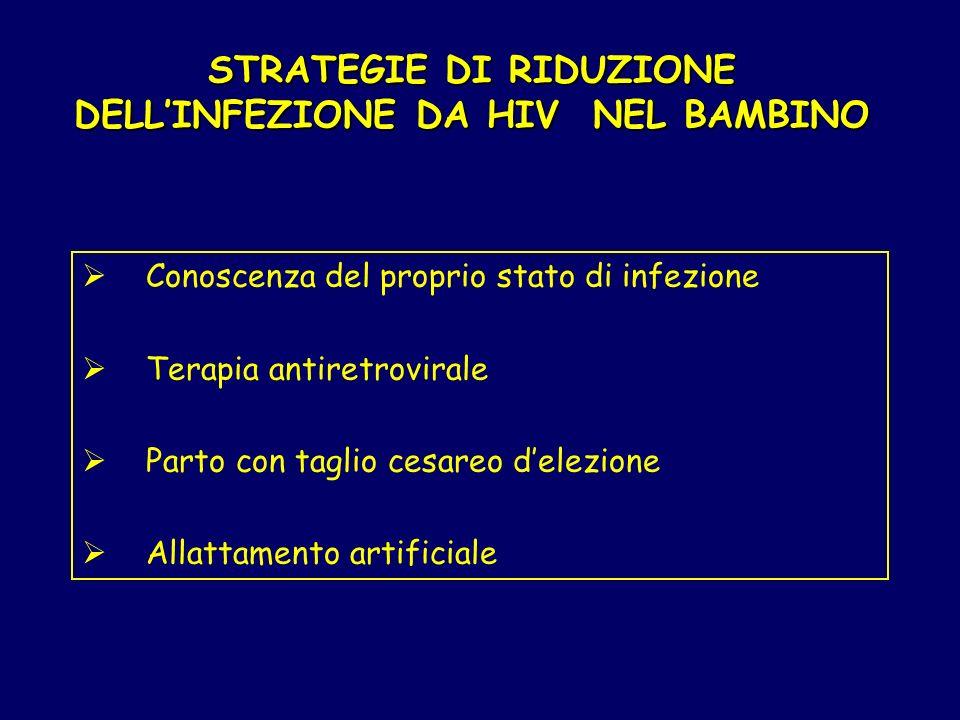 STRATEGIE DI RIDUZIONE DELL'INFEZIONE DA HIV NEL BAMBINO