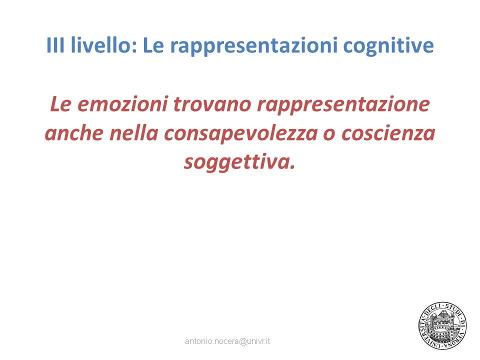 III livello: Le rappresentazioni cognitive