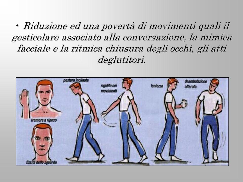 Riduzione ed una povertà di movimenti quali il gesticolare associato alla conversazione, la mimica facciale e la ritmica chiusura degli occhi, gli atti deglutitori.
