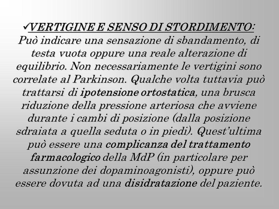 VERTIGINE E SENSO DI STORDIMENTO: