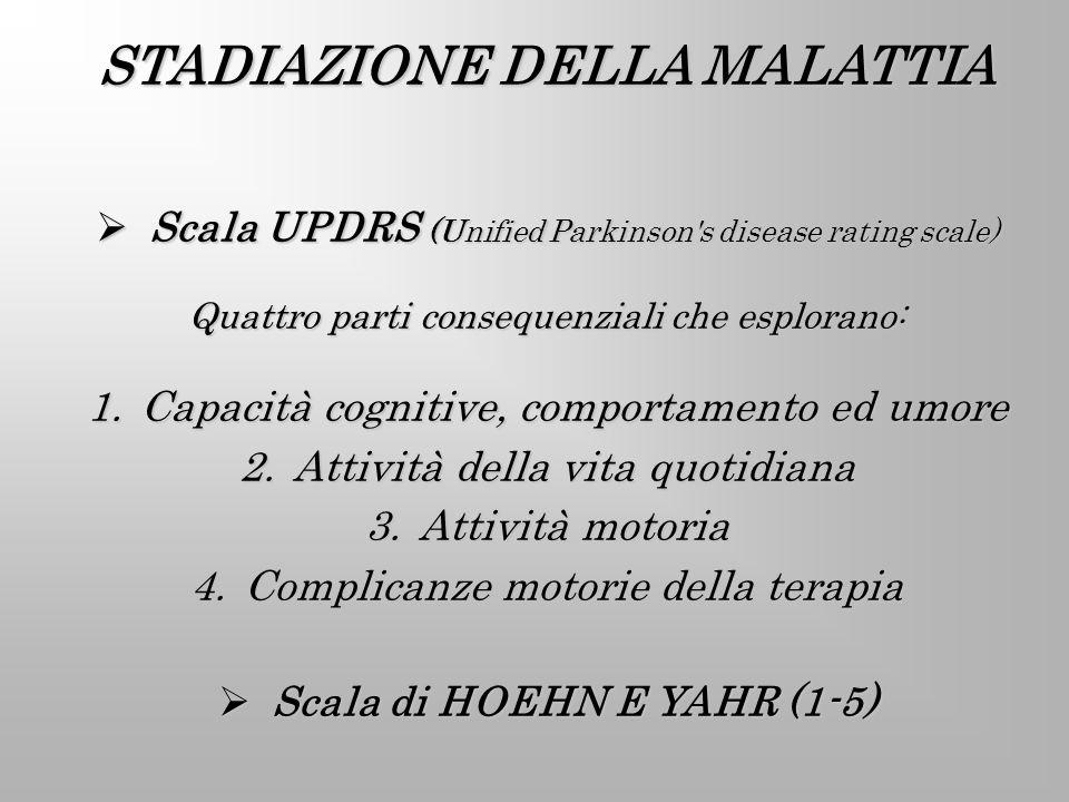 STADIAZIONE DELLA MALATTIA Scala di HOEHN E YAHR (1-5)