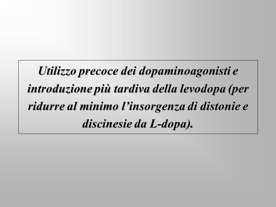 Utilizzo precoce dei dopaminoagonisti e introduzione più tardiva della levodopa (per ridurre al minimo l'insorgenza di distonie e discinesie da L-dopa).