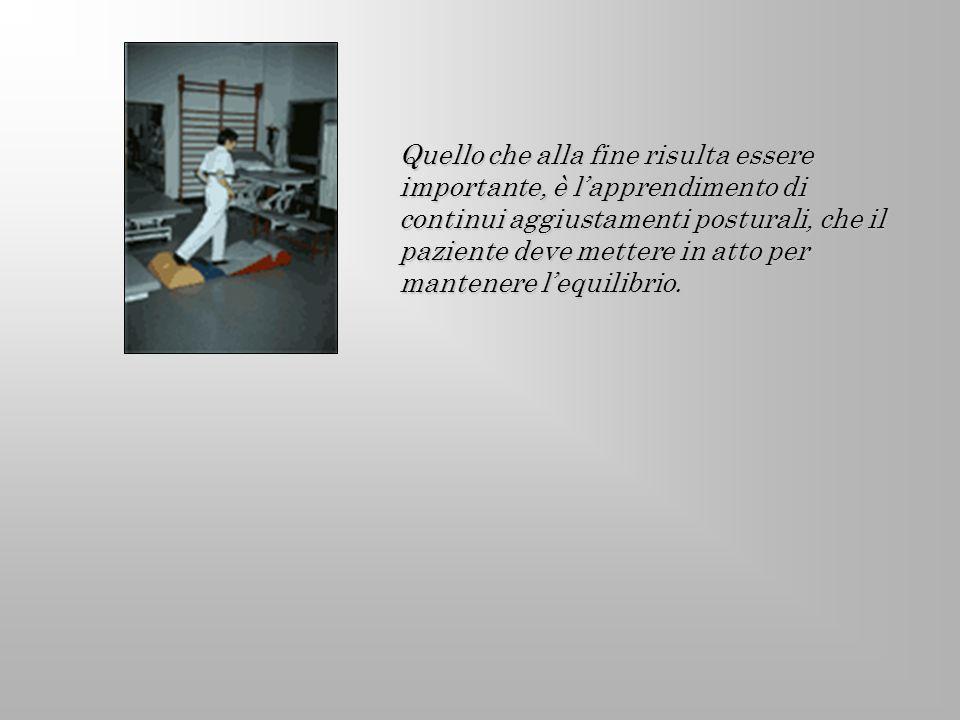 Quello che alla fine risulta essere importante, è l'apprendimento di continui aggiustamenti posturali, che il paziente deve mettere in atto per mantenere l'equilibrio.