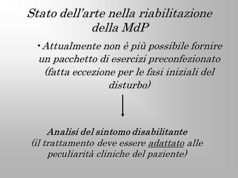 Stato dell'arte nella riabilitazione della MdP