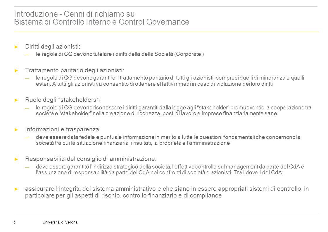Introduzione - Cenni di richiamo su Sistema di Controllo Interno e Control Governance