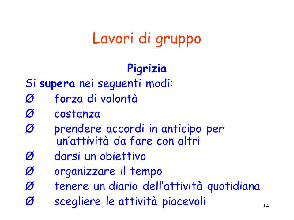 Lavori di gruppo Pigrizia Si supera nei seguenti modi: